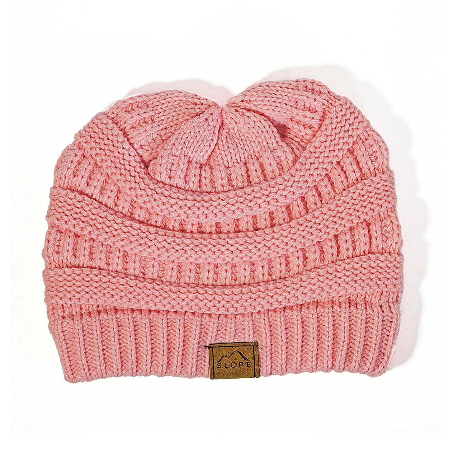 Slope Slouchy Beanie Warm Chunky Soft Stretch Cable Knit Slouchy Beanie Indi Pink