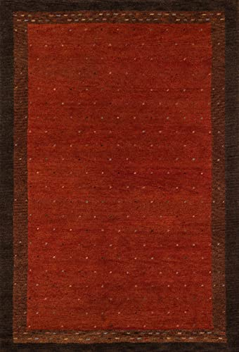 Momeni Rugs Desert Gabbeh Collection, 100 Wool Hand Knotted Contemporary Area Rug, 7 6 x 9 6 , Paprika