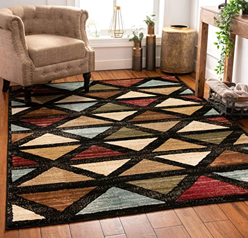 Well Woven Triangles Geometric Modern Area Rug Multicolor 8×10 8×11 7'10″ x 9'10″