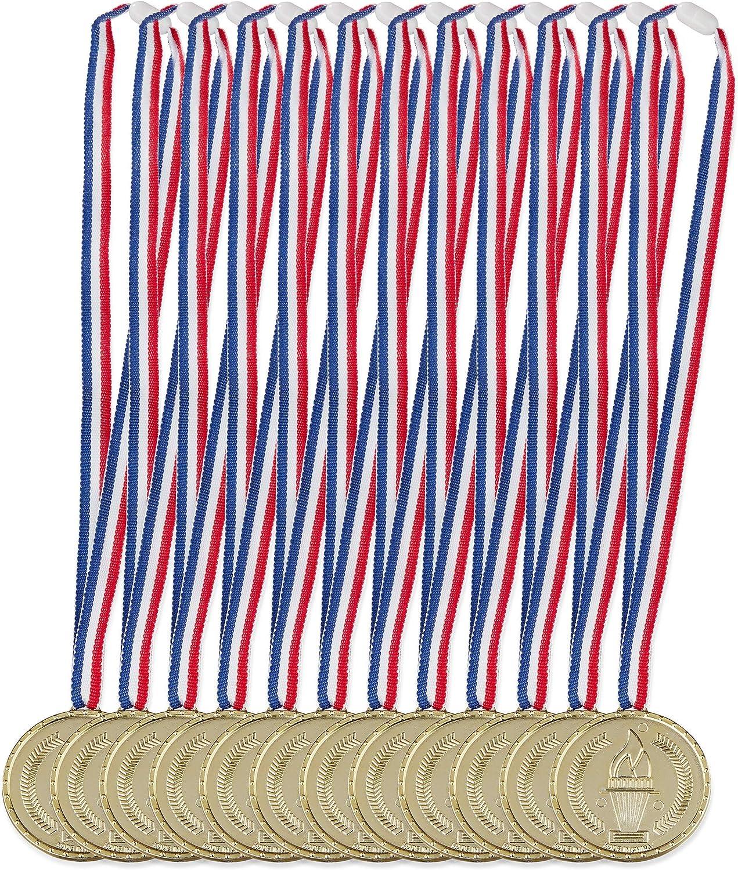 Relaxdays Medallas Doradas para niños, Set de 12, Antorcha, Colgante, Premio para ganadores, 5 cm Ø, Plástico