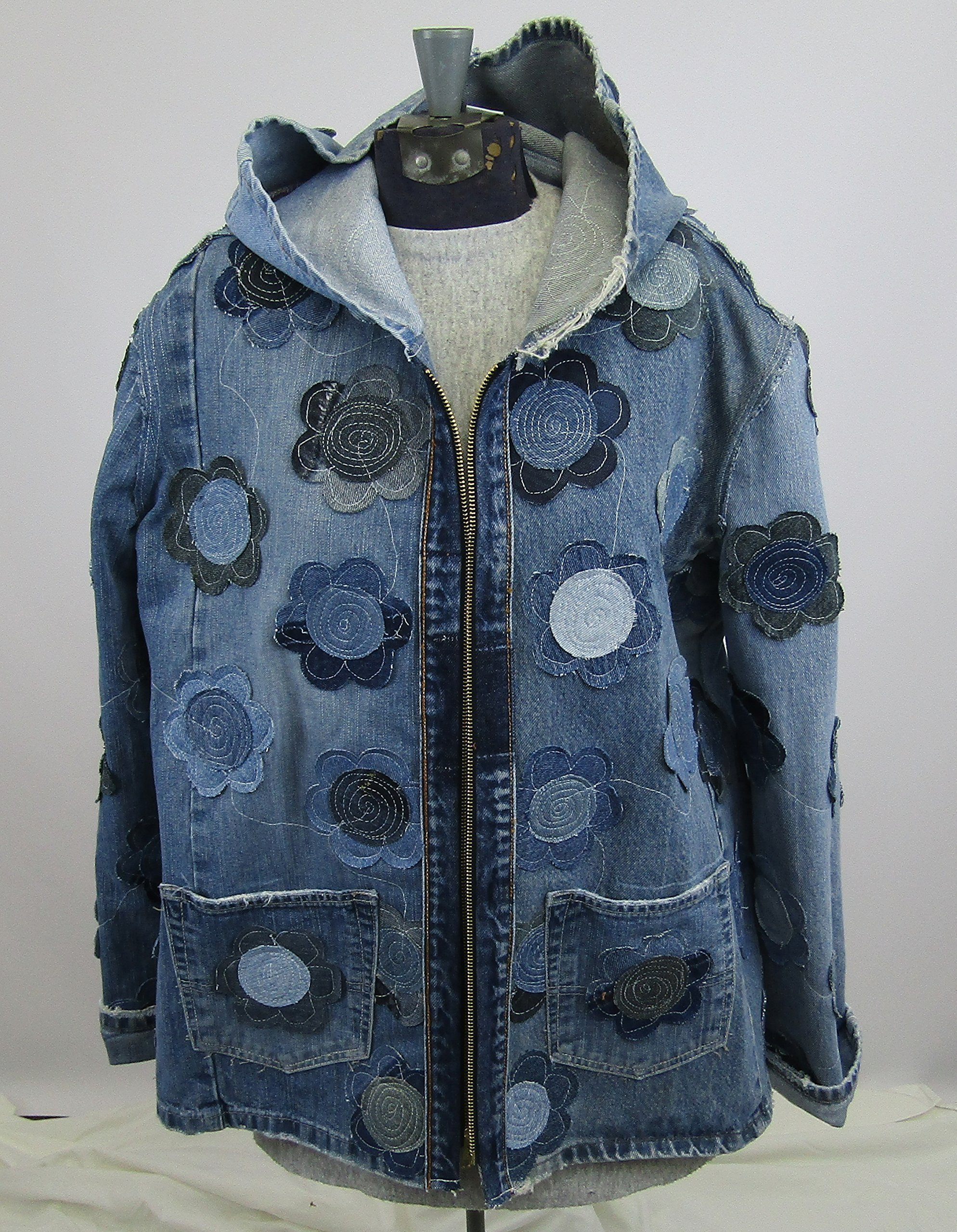 Hooded Denim Jacket Large with Floral Applique