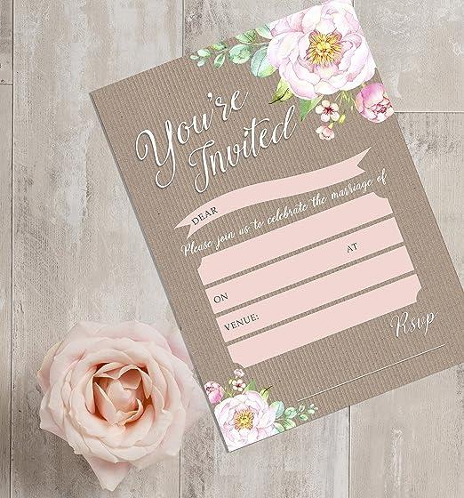 Pack of 10 Vintage Floral Wedding Invitations with Envelopes Hip Hip ...