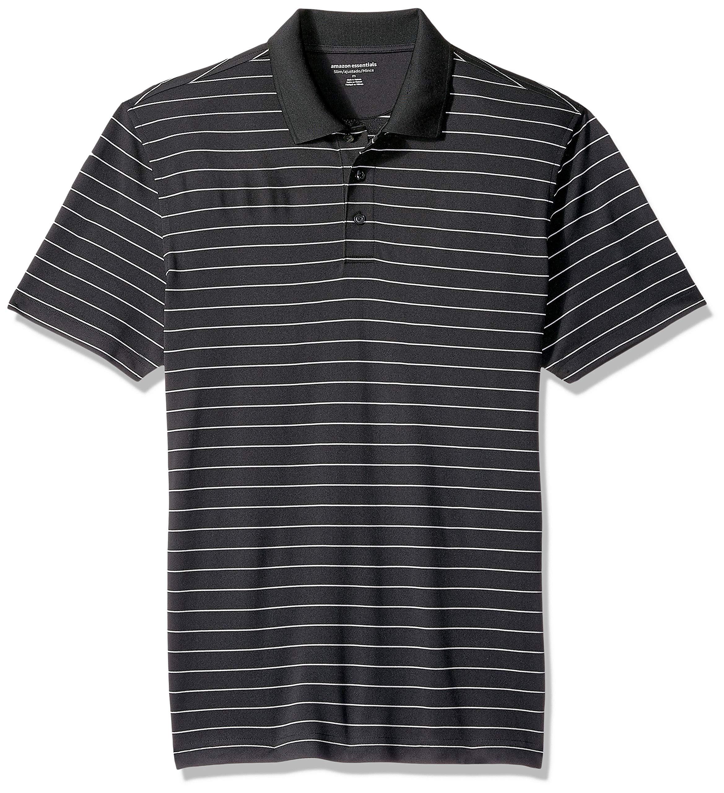Amazon Essentials Men's Slim-Fit Quick-Dry Golf Polo Shirt, Black Stripe, X-Small