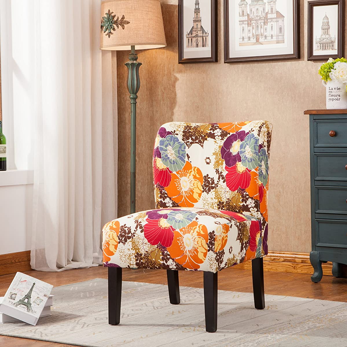 Roundhill Furniture Capa Print Fabric Armless Contemporary Accent Chair, Desert Flower