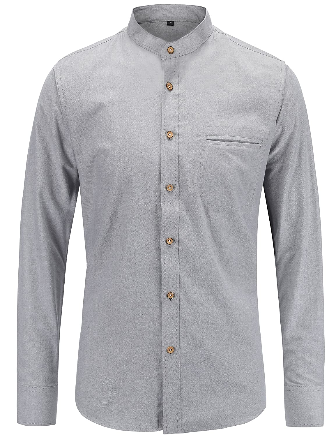 TALLA M. JEETOO Camisas Hombre Casual de Manga Larga Color Sólido Oxford
