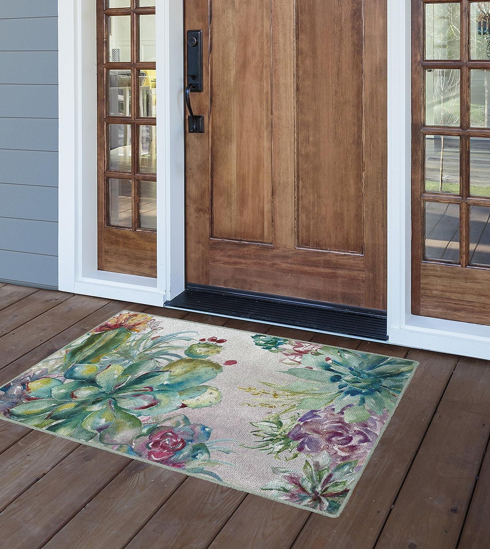 Brumlow MILLS Succulent Floral Garden Area Rug for Kitchen, Entryway, Living Room or Bedroom, 2'6 x 3'10, Rectangle, Green (EW10334-30x46)