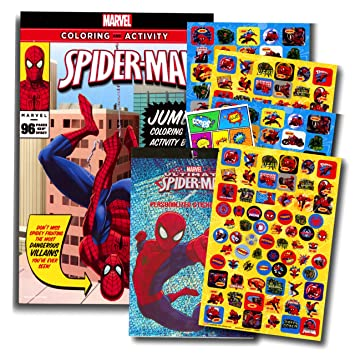 marvel spiderman coloring book with over 270 spiderman stickers bonus superhero sticker