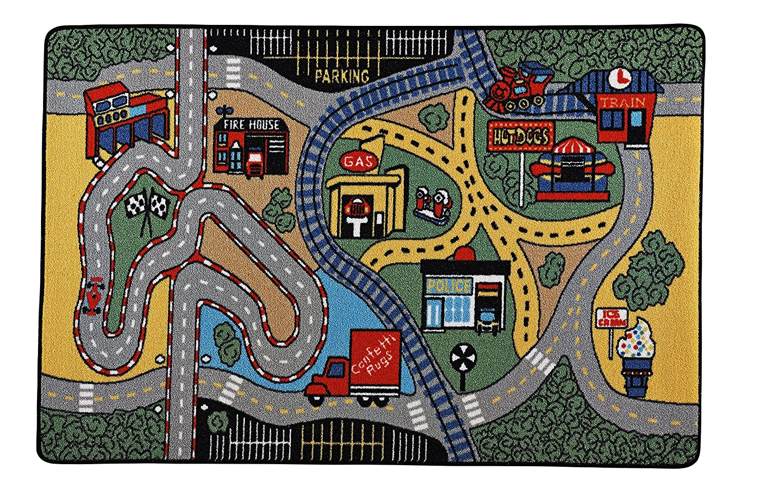 Amazon.com: Adgo Kids Collection Anti Bacterial Rubber Backed Non Slip Green Frame with Multi Colors Kids Childrens Educational Race Area Rug (5 x 7, ...