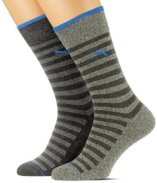 Puma 2 pares de algodón para hombre ricos calcetines de rayas Clásico: Amazon.es: Ropa y accesorios