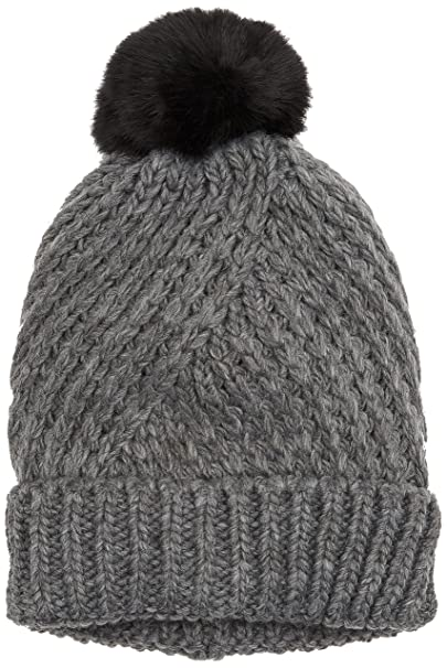c4558bd84d7957 PIECES Damen Strickmütze PCJOKIMA POM Hood, Grau (Medium Grey Melange), One  Size
