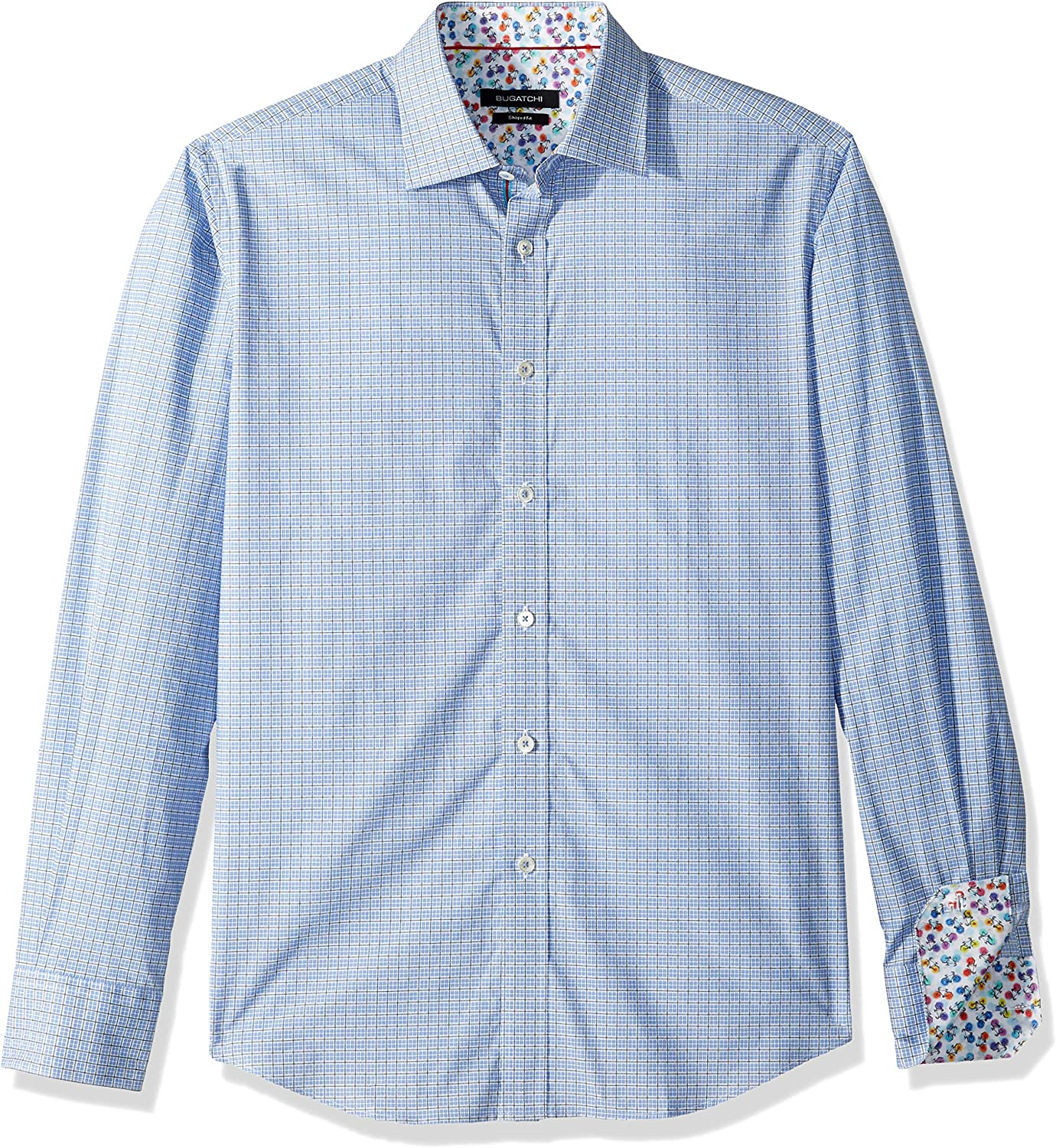 Bugatchi Mens Shaped Fit Cotton Point Collar Button Down Shirt