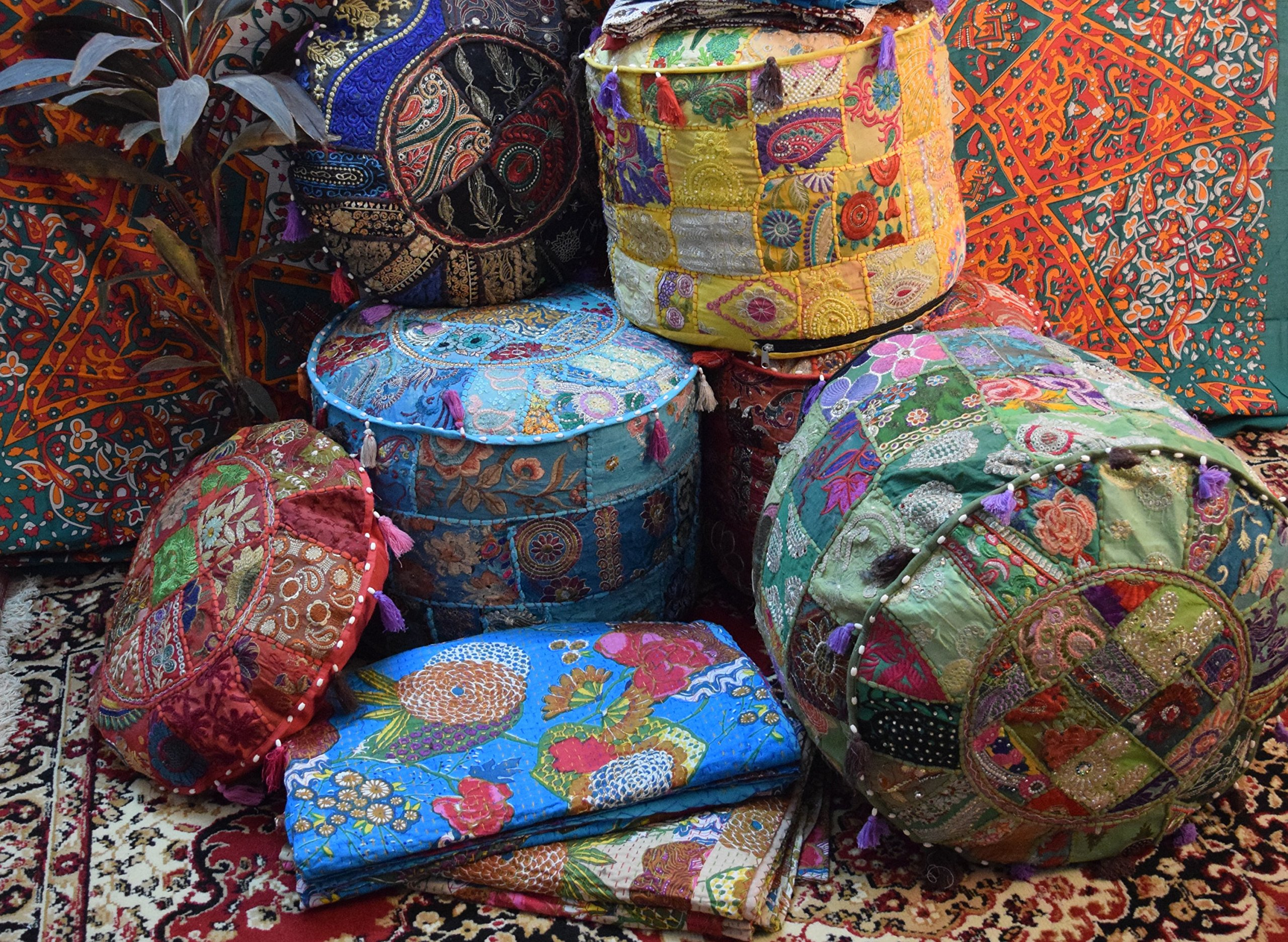 khushvin 5pc Indian Vintage Ottoman Pouf Cover Patchwork Ottoman, Decorative Handmade Home Chair Cover Living Room Patchwork Foot Stool Cover, 14x22x22 Inch.