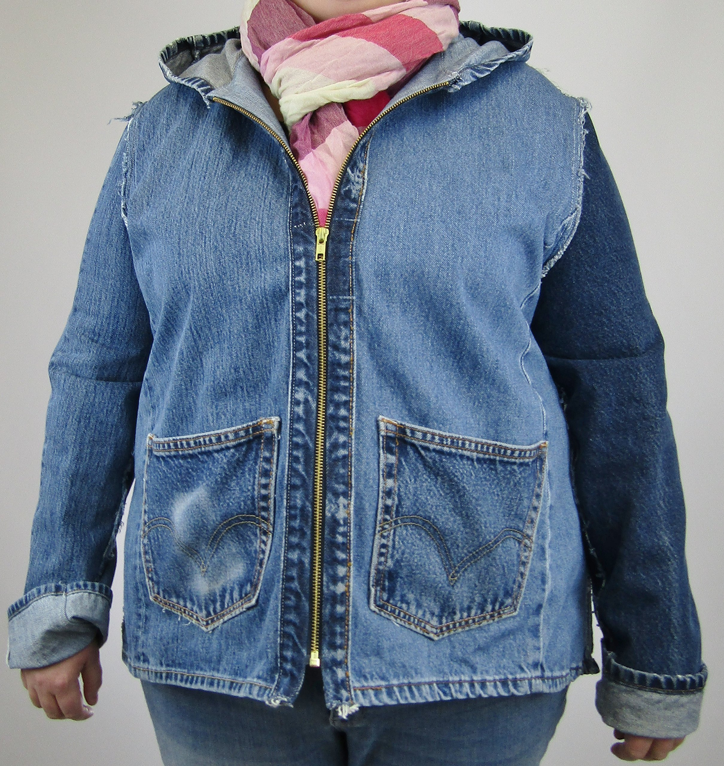 Hooded Denim Jacket XL made from 4 pair of reconstructed blue jeans