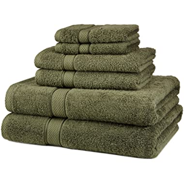 Pinzon 6 Piece Blended Egyptian Cotton Bath Towel Set - Moss