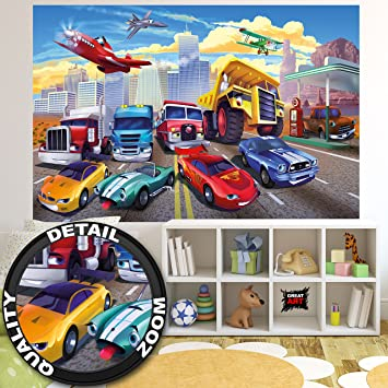 Wallpaper For Kids Room Car Racing Mural Decoration Airplane Cars