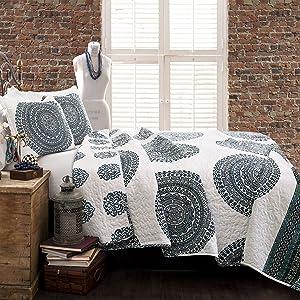 Lush Decor Blue Shaila Medallion Quilt | Mandala Print Reversible 3 Piece Bedding Set-King