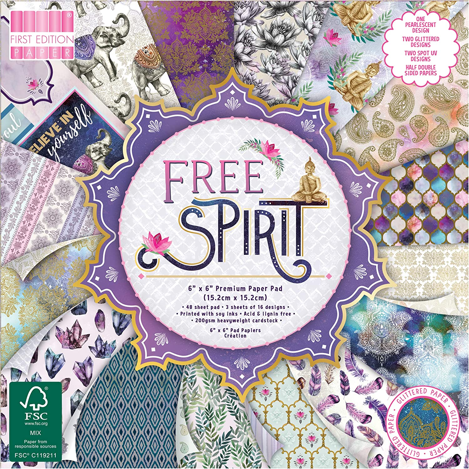 Scrapbooking Home Decor /& Papercraft Soy Inks-for Card Making First Edition FEPAD214 FSC 6x6 Paper Spirit-48 Sheet Pad Acid /& Lignin Free Multicolour 200gsm Heavyweight Cardstock 6x6