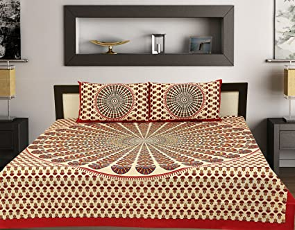 1a8629a0e21 Rhf 100% Cotton Double Bed Sheet   Bed Cover For Royal Home (1 Double Beds  Heet With 2 Pillow Cover) (Red Multi)  Amazon.in  Home   Kitchen