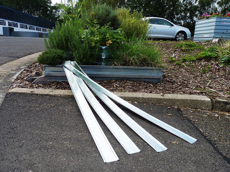 4 Schneckenschutzbleche für eine eckige MSL Pflanzenpyramide aus verzinktem Stahlblech.