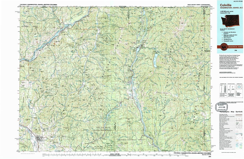 Bc Washington Map.Amazon Com Yellowmaps Colville Wa Topo Map 1 100000 Scale 30 X
