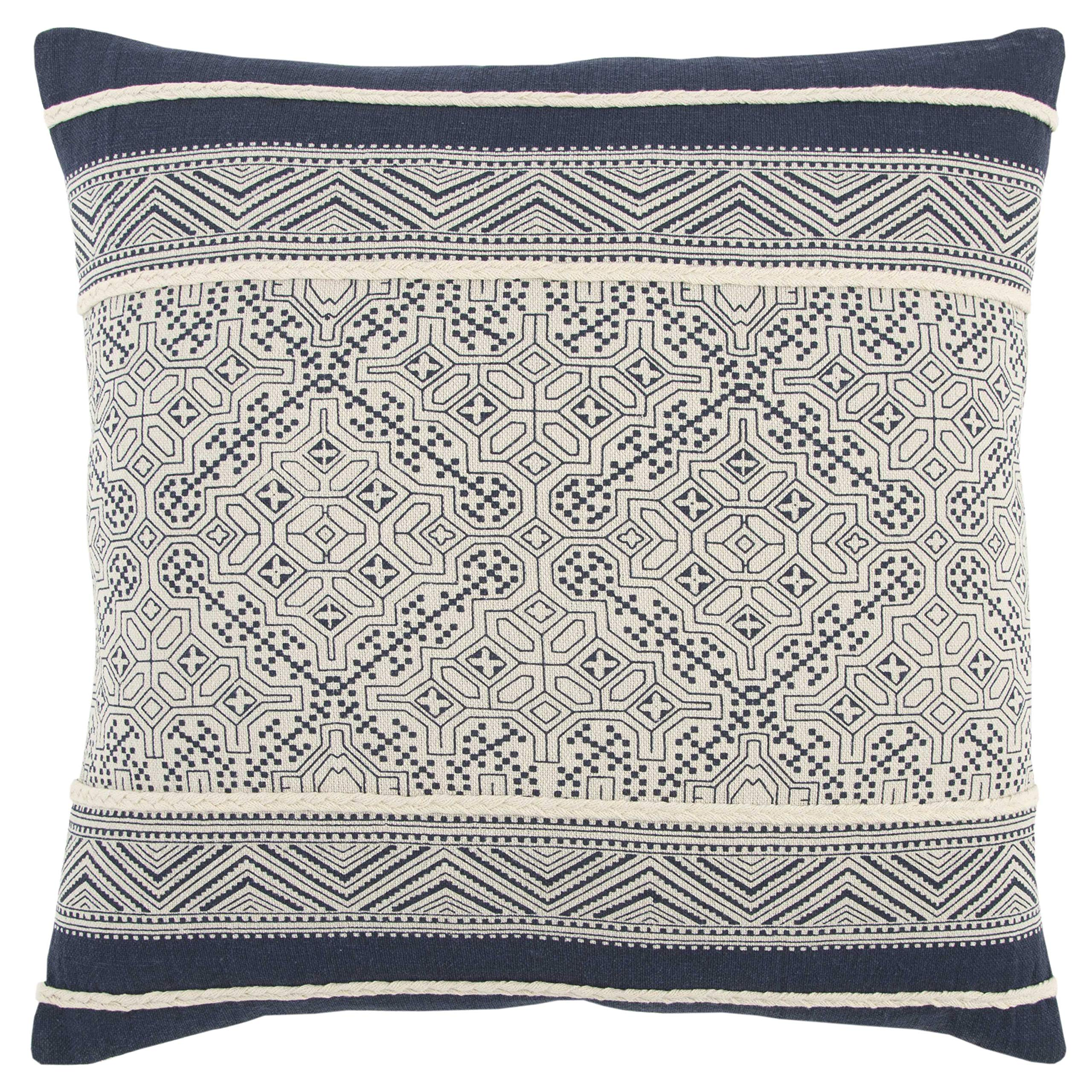 Rizzy Home Throw Pillow, 20'' x 20'', Dk Blue/Ivory