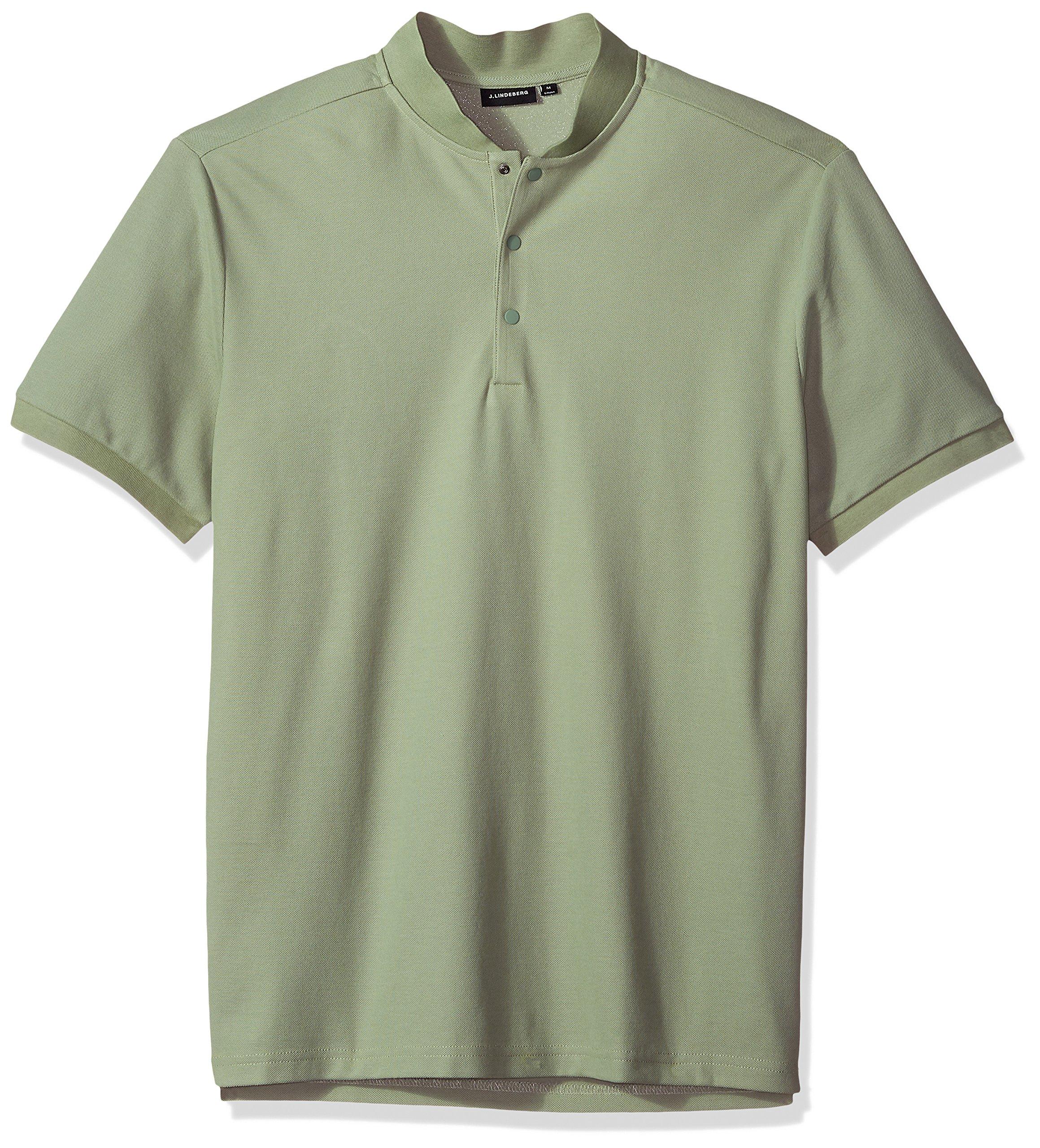 J.Lindeberg Men's Athletic Polo Shirt, Hedge Green, Medium