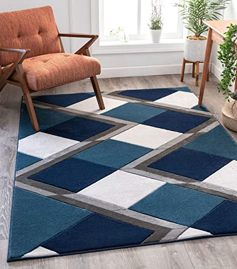 Well Woven Good Vibes Nora Blue Modern Geometric Stripes And Boxes 5 3 X 7 3 3d Texture Area Rug Furniture Decor