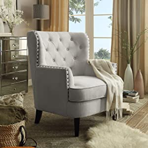 Rosevera Gustavo Collection Fabric Nailhead Club, Contemporary Accent Chairs, Cream