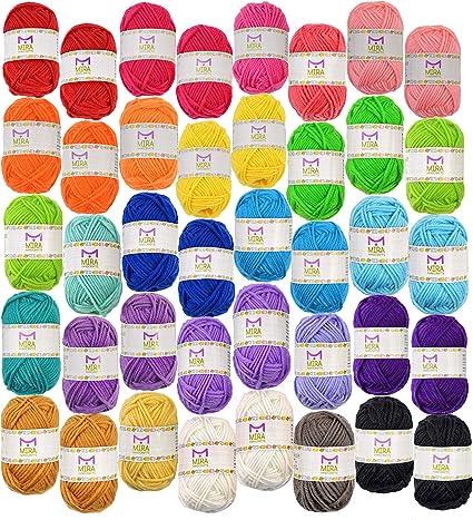 Pacchetto Gomitoli Filo Base 40 Matasse di Filati acrilici – Colori Assortiti Perfetto per Qualsiasi Progetto di Uncinetto e Maglia