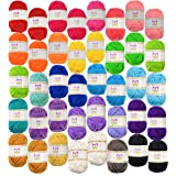 Mira Handcrafts 40 Assorted Colors Acrylic Yarn Skeins with 7 E-Books - Perfect for Any Knitting and Crochet Mini…