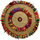 Cotton Craft - Hand Woven Reversible Jute & Cotton Multi Shags Braid Rug - 4 Feet Round - This Rug is made from multi color re-cycled yarns, actual product may vary in color from the image shown