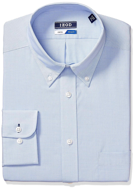 Izod Mens Standard Dress Shirts Regular Fit Stretch Check 2301567