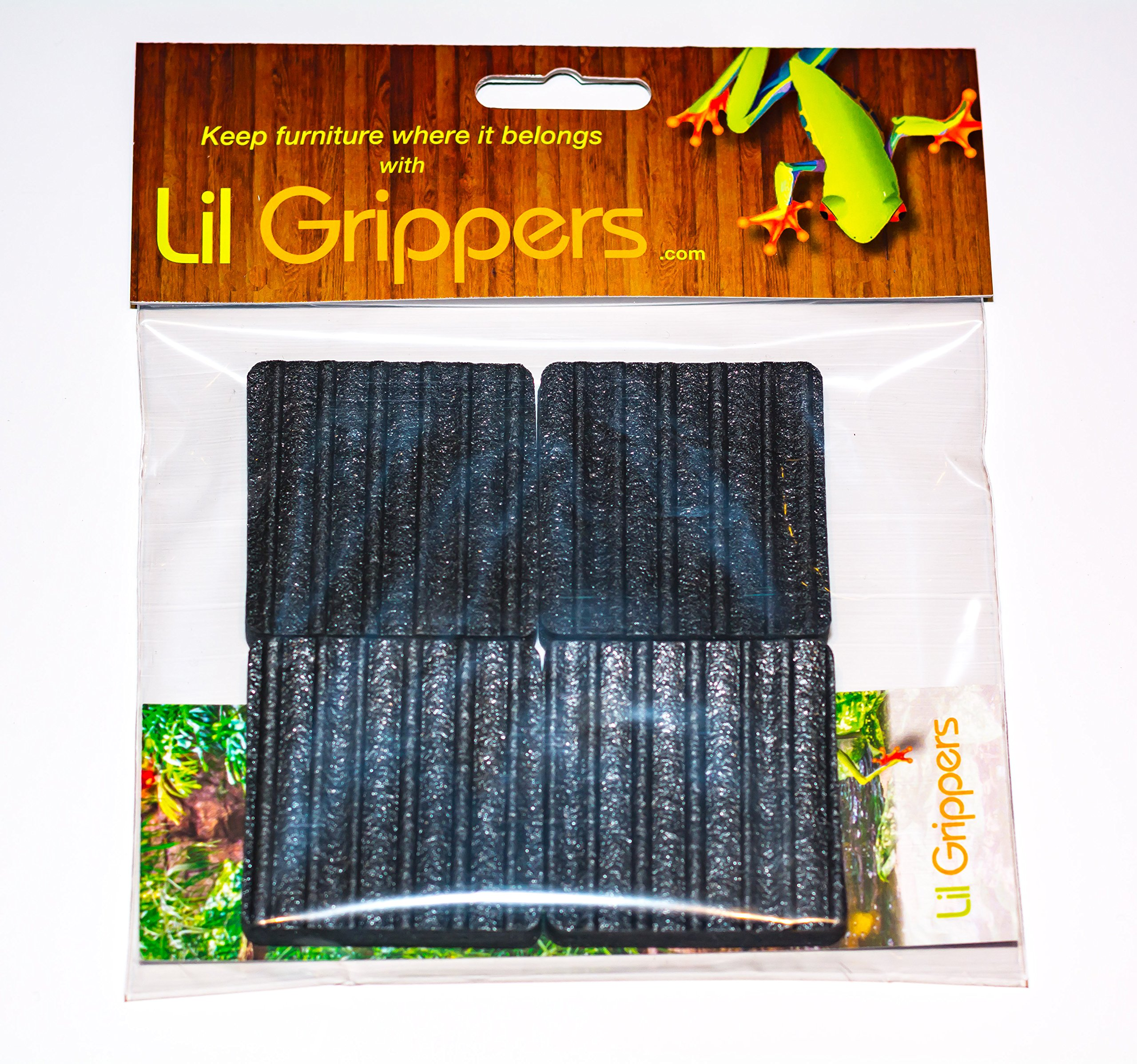 Lil Grippers Square Furniture Pads - Keep Furniture Where it Belongs! (5 Inch) 4 Pack