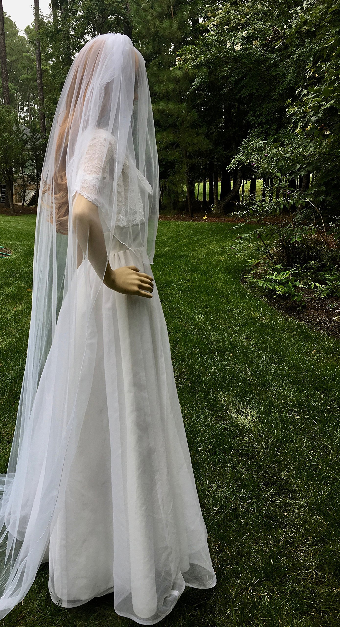 White One Tier Long Veil