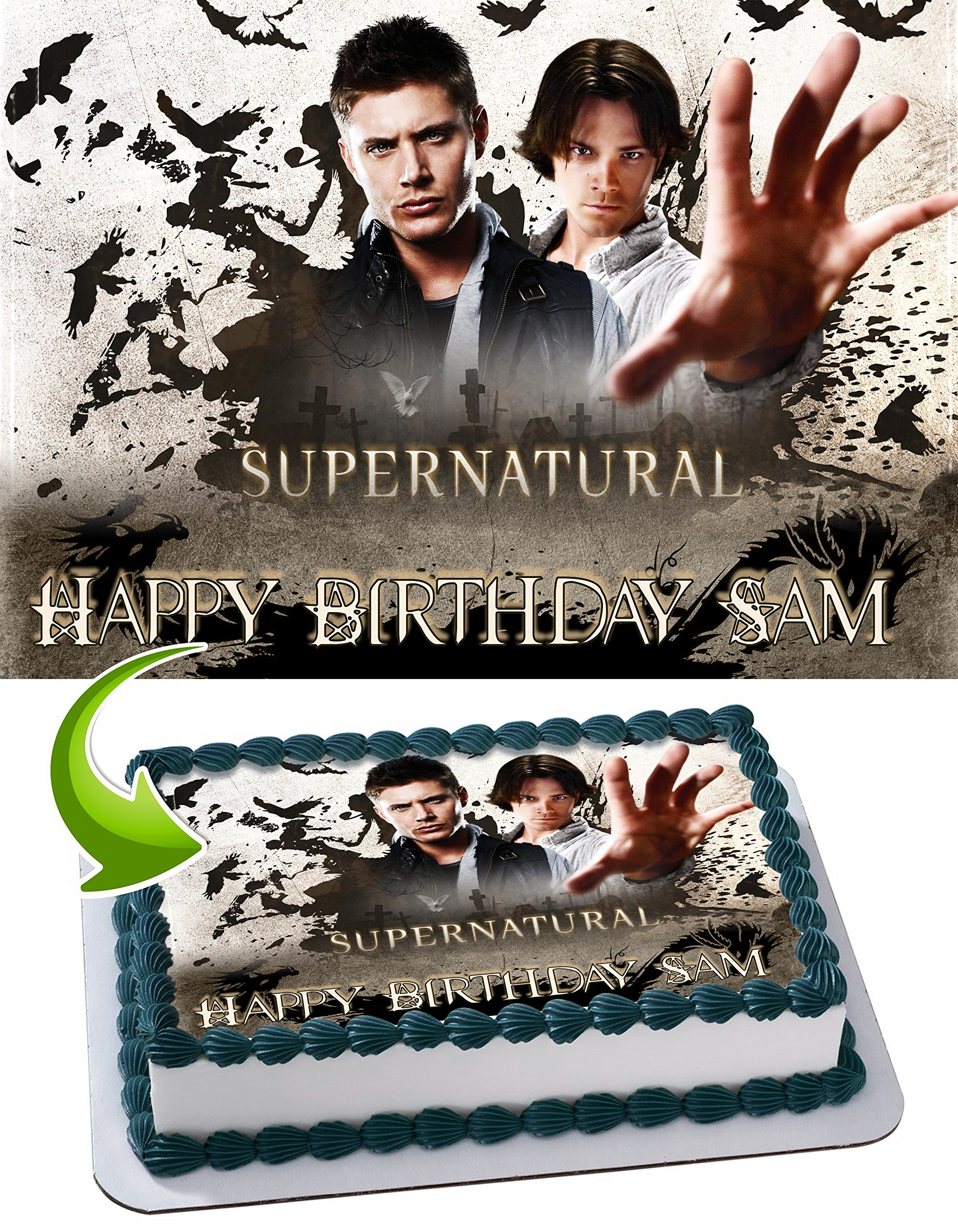 Supernatural Edible Cake Image Personalized Birthday Topper Icing Sugar Paper A4 Sheet 1/4