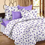 Ahmedabad Cotton 144 TC Cotton King Bedsheet with 2 Pillow Covers, Multicolour