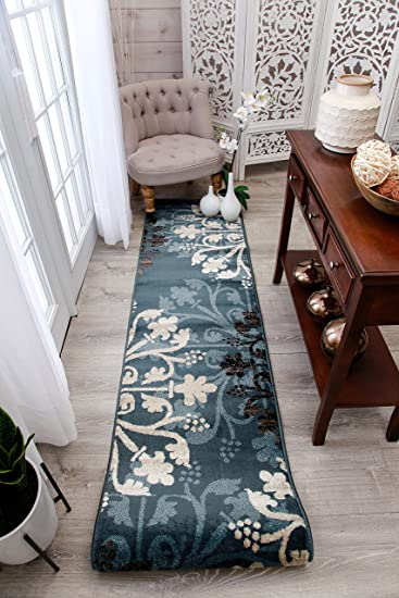 Premium Contemporary Rugs For Living Room Navy Blue Cream Brown Rug, 2x8  Hallway Runners