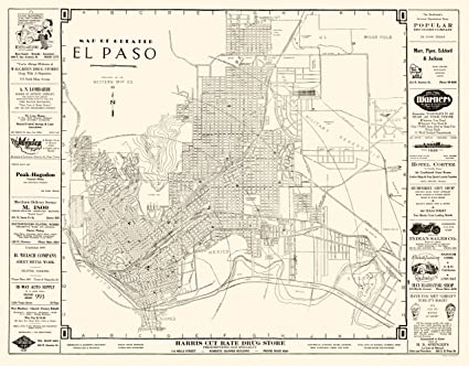 Amazon.com: Old City Map - El Paso Texas - Western 1938 - 23 ...