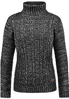DESIRES Philis Damen Strickpullover Zopfstrick mit Rollkragen aus hochwertiger 100% Baumwolle Meliert