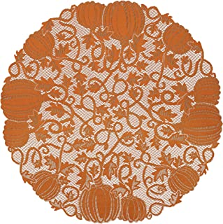 "product image for Heritage Lace Orange 42"" Pumpkin Round Table Topper"