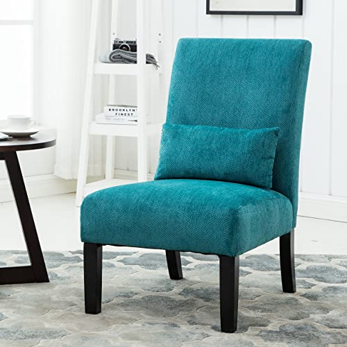 Roundhill Furniture Pisano Teal Blue Fabric Armless Contemporary Accent Chair