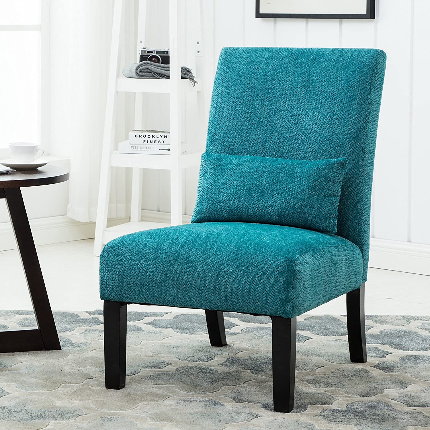 Contemporary fabric chairs - Amazon Com Roundhill Furniture Pisano Teal Blue Fabric Armless Contemporary Accent Chair With Kidney Pillow Single Kitchen Dining