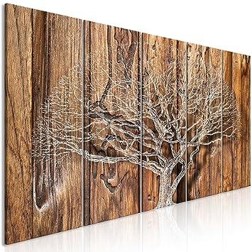 decomonkey Bilder Baum Holz 200x80 cm 5 Teilig Leinwandbilder Bild auf  Leinwand Vlies Wandbild Kunstdruck Wanddeko Wand Wohnzimmer Wanddekoration  Deko ...