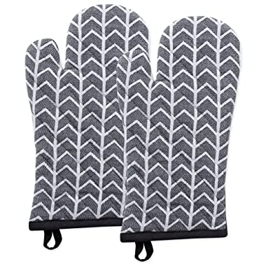 DII Cotton Heat Resistant Kitchen Oven Mitts Set Farmhouse Chic Geometric Design, Machine Washable for Every Home, (6.5x12-Set of 2), Herringbone