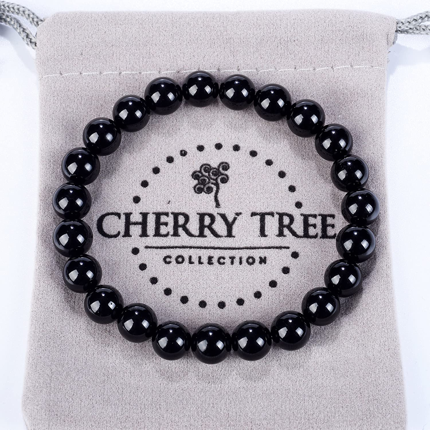 Cherry Tree Collection Medium Small Large Sizes 8mm Round Beads Gemstone Beaded Stretch Bracelet