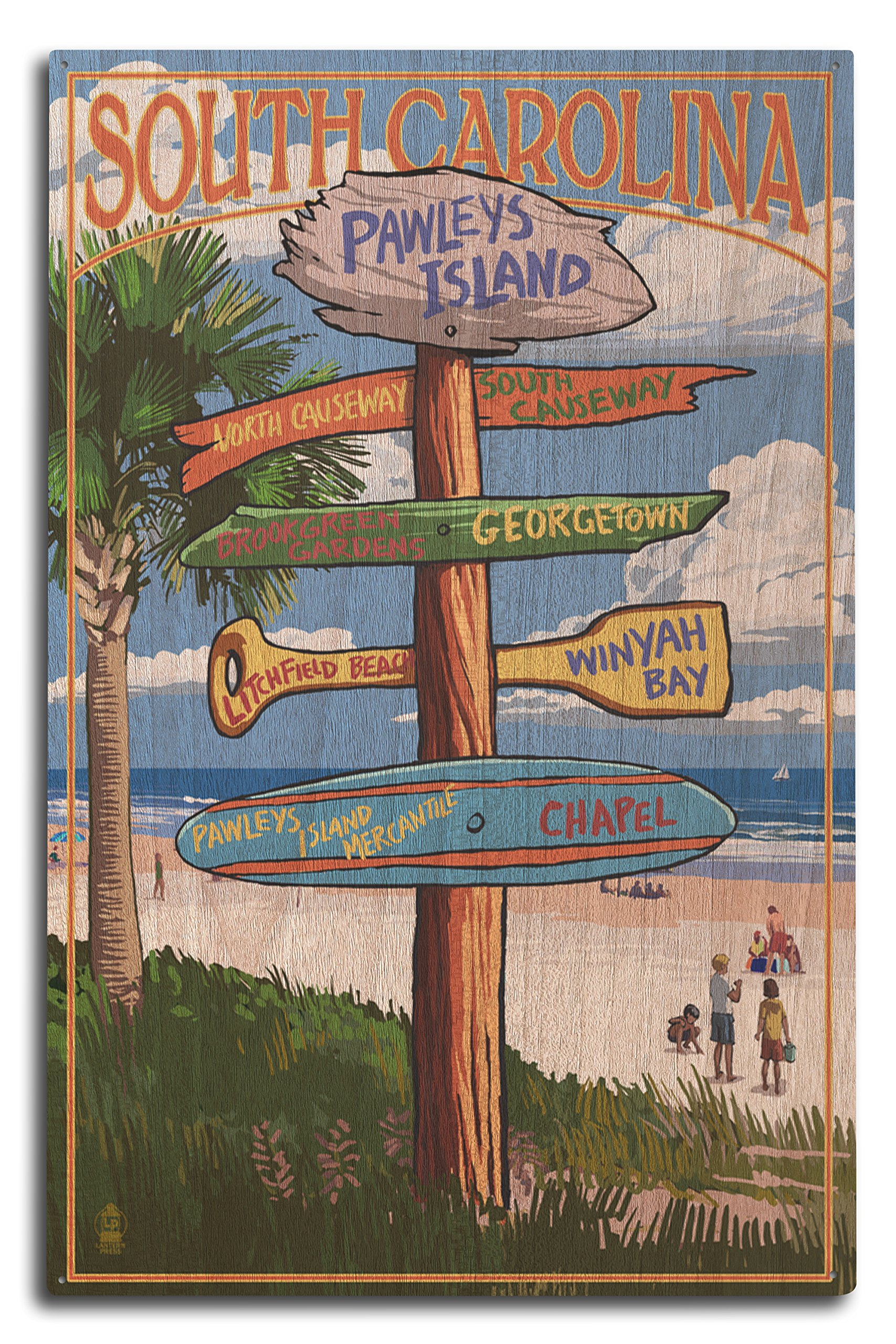 Lantern Press Pawleys Island, South Carolina - Destinations Sign (10x15 Wood Wall Sign, Wall Decor Ready to Hang)