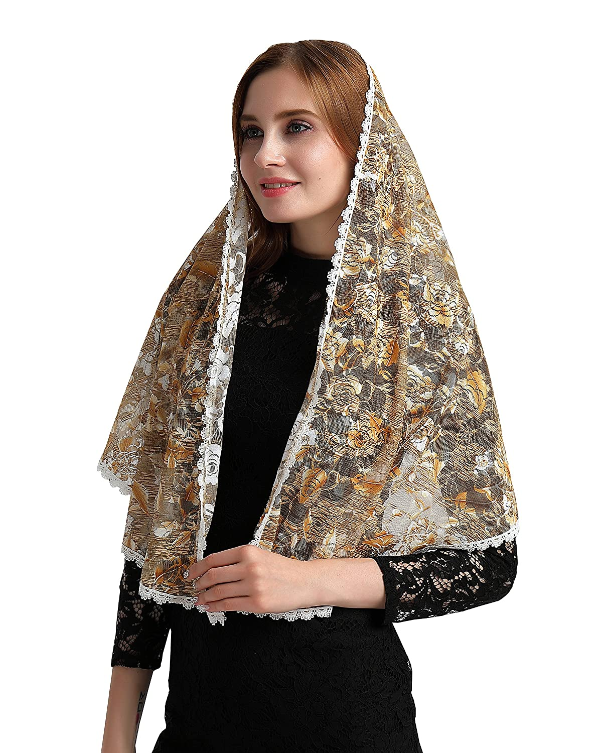 Triangle Lace Mantilla Veil Tulle Scarf Covering Church Veil for Mass Wedding Br