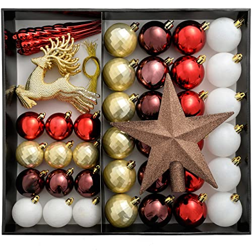 werchristmas shatterproof luxury christmas tree baubles 50 piece red whitegold