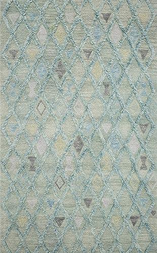 Loloi Symbology Collection Geometric Morrocan Area Rug, 2 -6 X 7 -6 Runner, Seafoam Sky