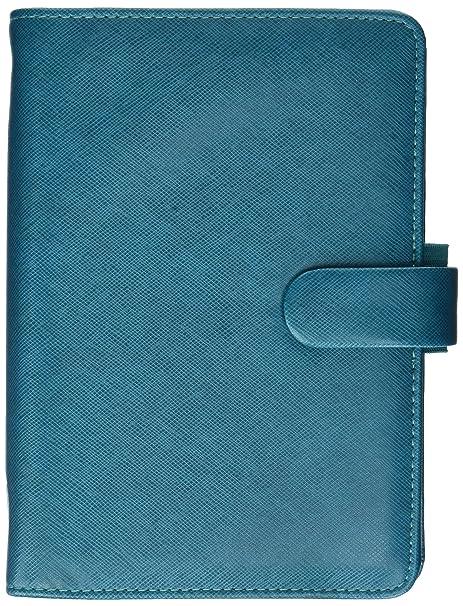 Filofax 2019 Personal Saffiano Organizer, Aquamarine, Paper Size 6.75 x 3.75 inches (C022530-19)